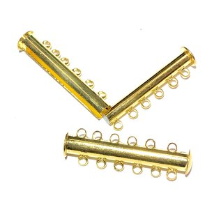 Magnetic Slide Clasp Gold Plated Brass 6 Hole 4pcs