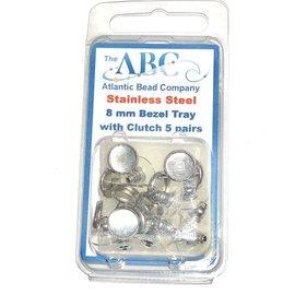 Stainless Steel 8mm Bezel Tray Stud 5prs/pkg