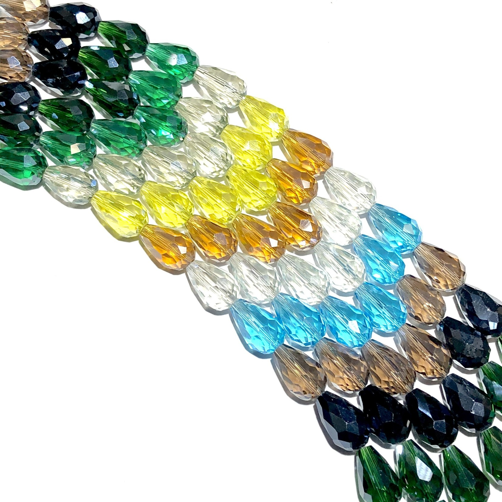 Electroplated Chinese Crystal Drops 15x10mm Faceted