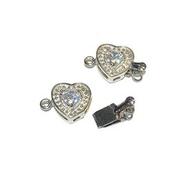 Silver Plated Heart Box CLASP w/Rhinestone 4pcs