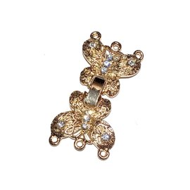 40mm Fold Over CLASP Rhinestone Butterfly