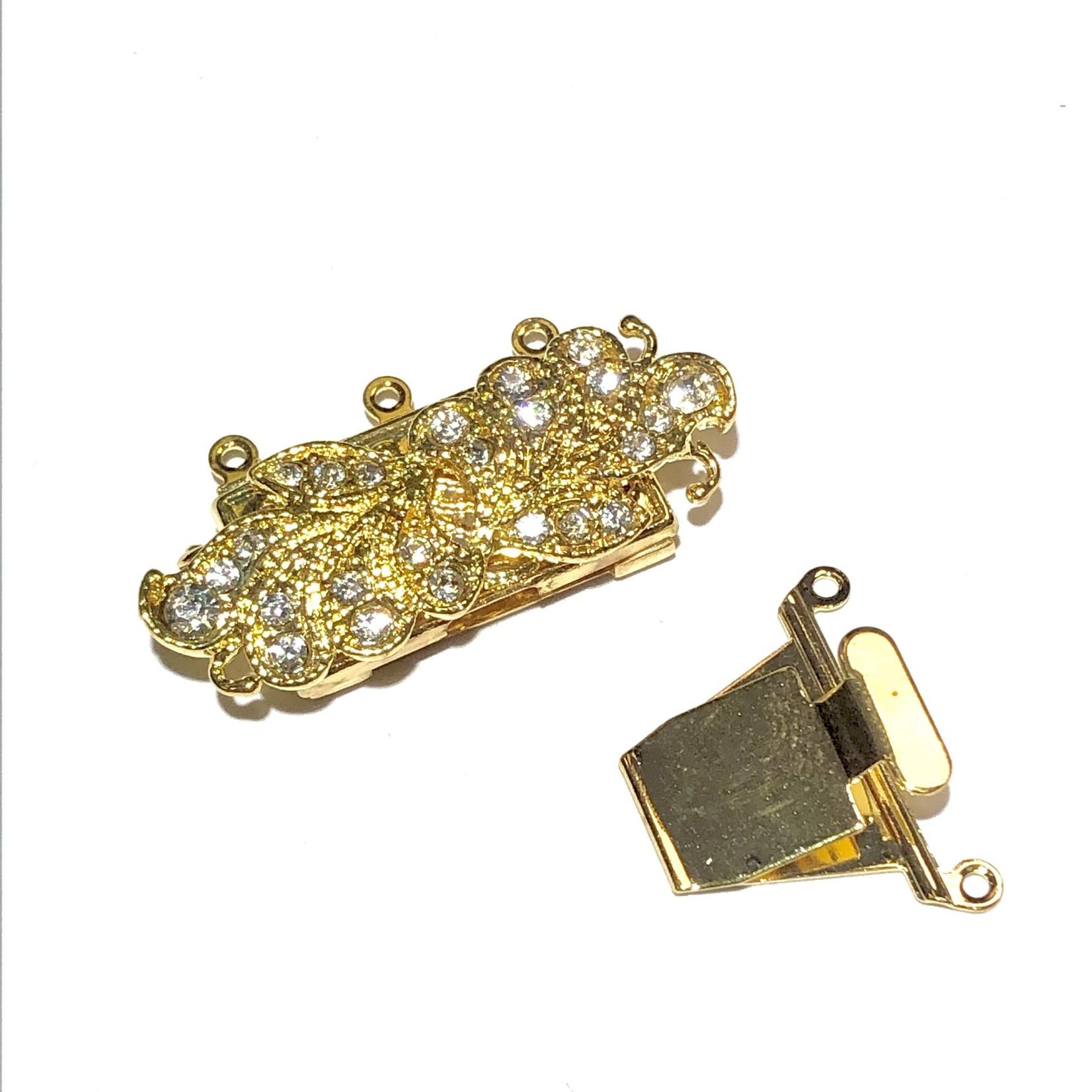 Gold Leaf Rhinestone 34mm Box CLASP