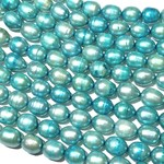 FRESH WATER PEARL Rice Dyed Aqua Blue 9mm
