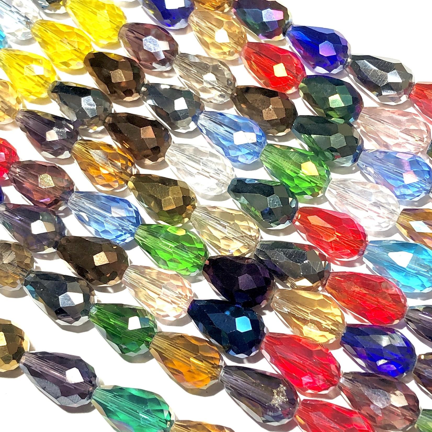 Electroplated GLASS Faceted Drop Asst'd 15X10mm