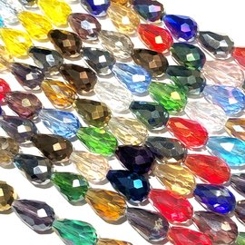 Electroplated GLASS Faceted Drop Asst'd 15X10mm
