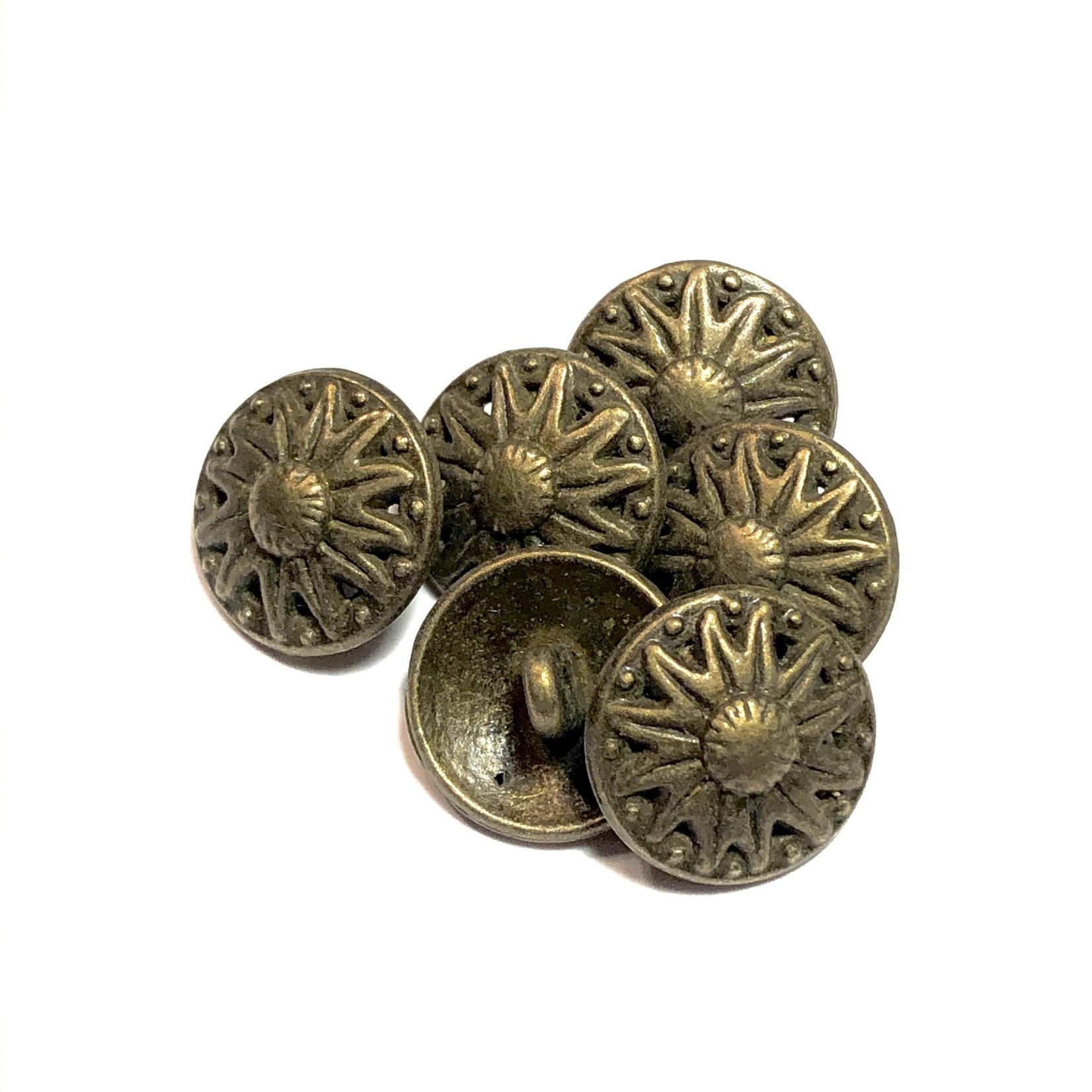 Bronze Alloy 18mm Buttons Flower Pattern 12pcs