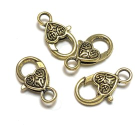 Tibetan Gold Alloy 25mm Heart Lobster Clasps 8pcs