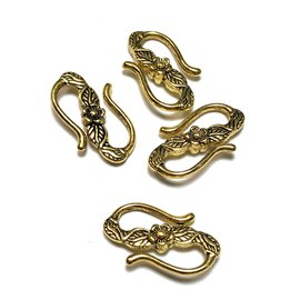 Gold Alloy Flower-Pattern 25mm S-Clasp 8pcs