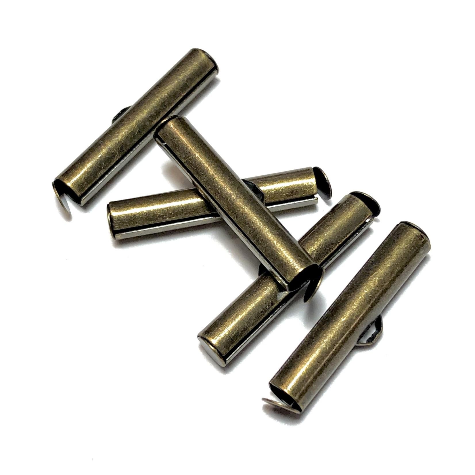 Antique Bronze Plated Slide End Clasp 26mm 12pcs