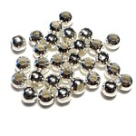 Silver Plated 6mm Round Spacer Bead 2.5mm Hole 100pcs
