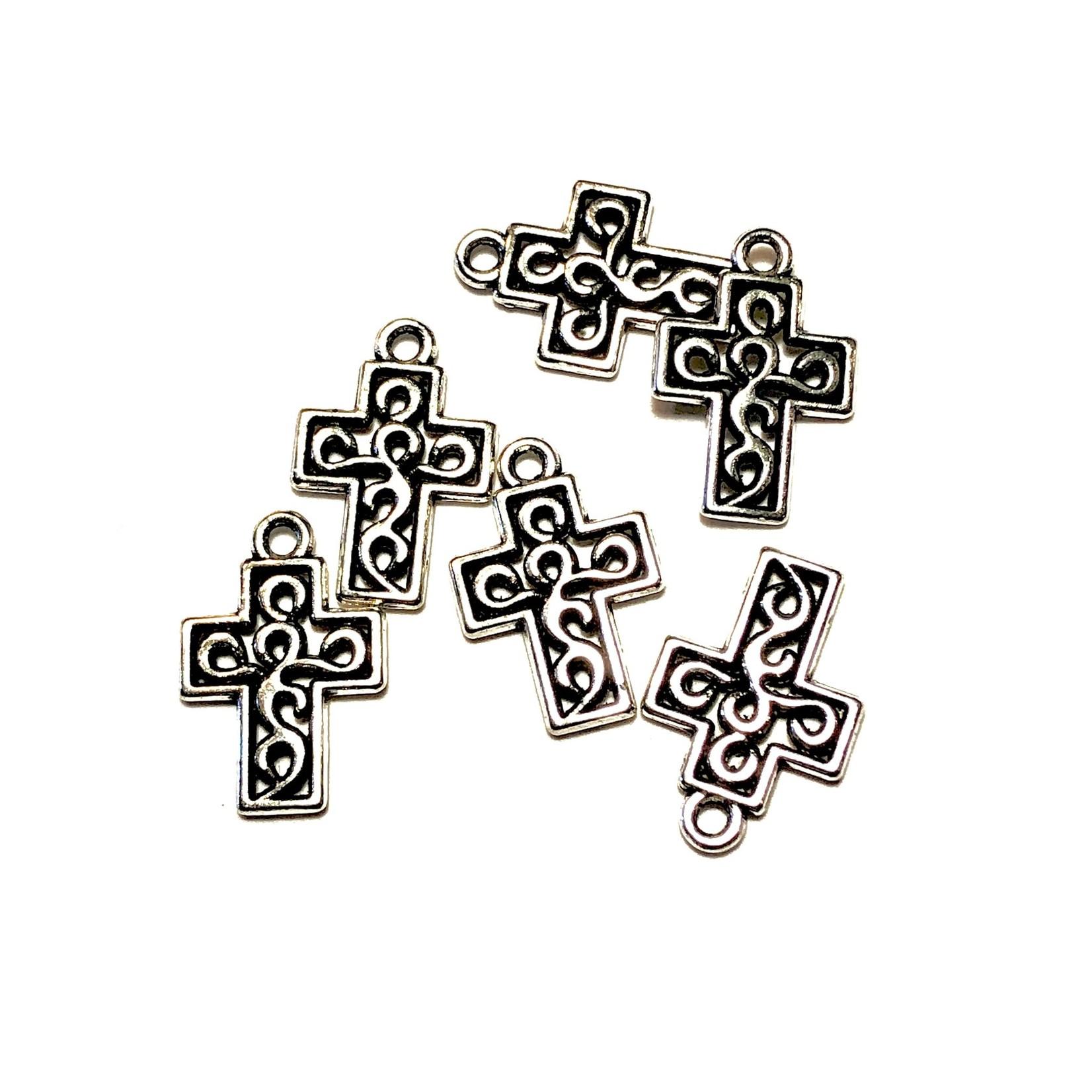 Antique Silver Alloy 18mm Decorative Cross Charm  15pcs