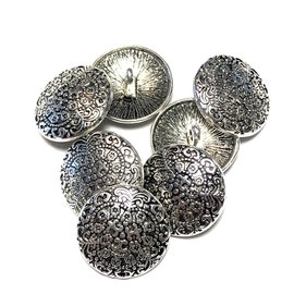 Craved Tibetan Silver Alloy 18mm Button 10pcs
