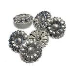 Tibetan Silver Alloy 17mm Flower Button 12pcs