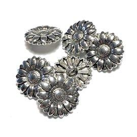 Tibetan Silver Alloy 20mm Flower Button 12pcs