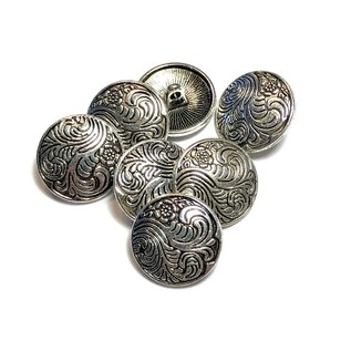 Antique Silver Alloy 17mm Button French Scroll 10pcs