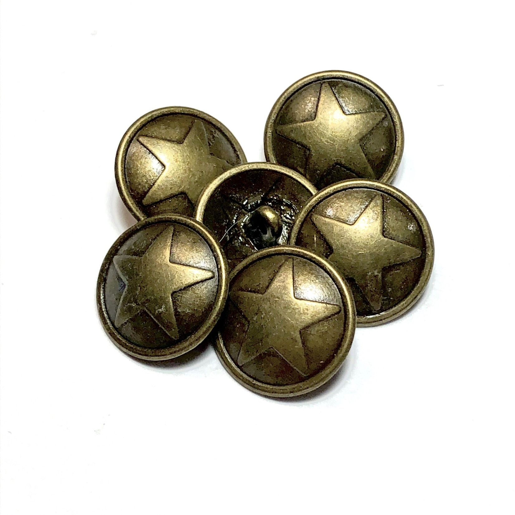 Bronze Alloy 17mm Button with Star 12pcs