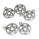 Tibetan Silver Alloy 23mm Pentagram Charm 8pcs