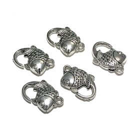 Tibetan Silver Alloy 20mm Fis Lobster Clasp 5pcs