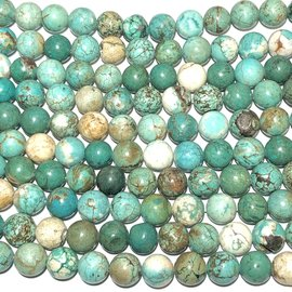 Magnesite Variegated Dyed Turquoise 10mm Round