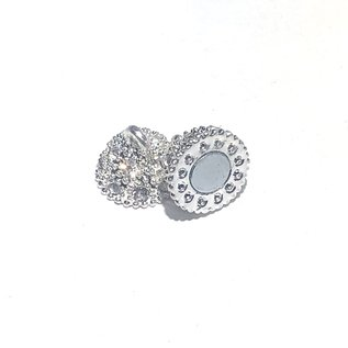 Magnetic CLASP 19x12mm Silver Alloy Rhinestone