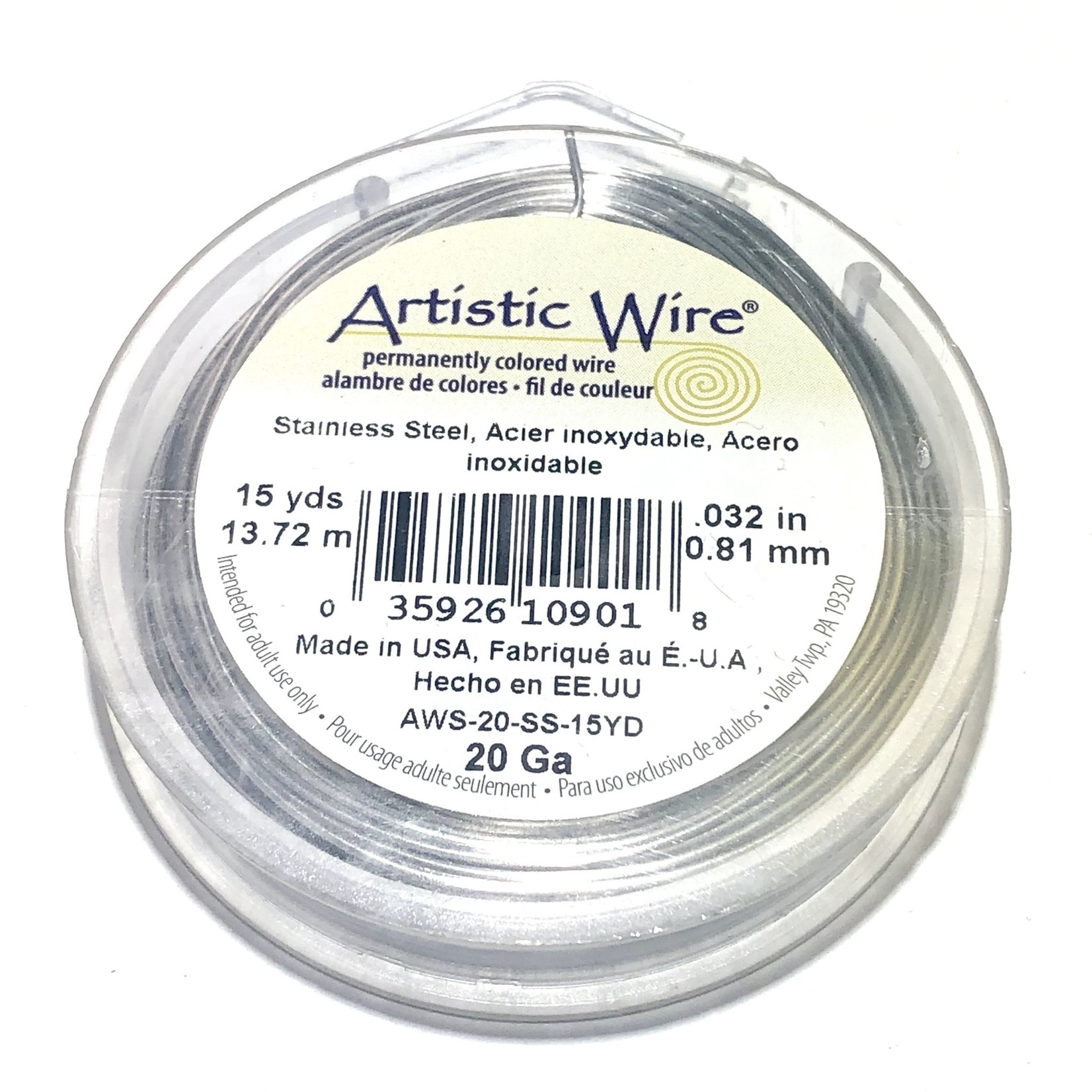 Artistic Wire Stainless Steel 20 Gauge 15 Yd