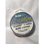 BeadSmith Bare Copper Wire - 18 Gauge Round 7 Yards