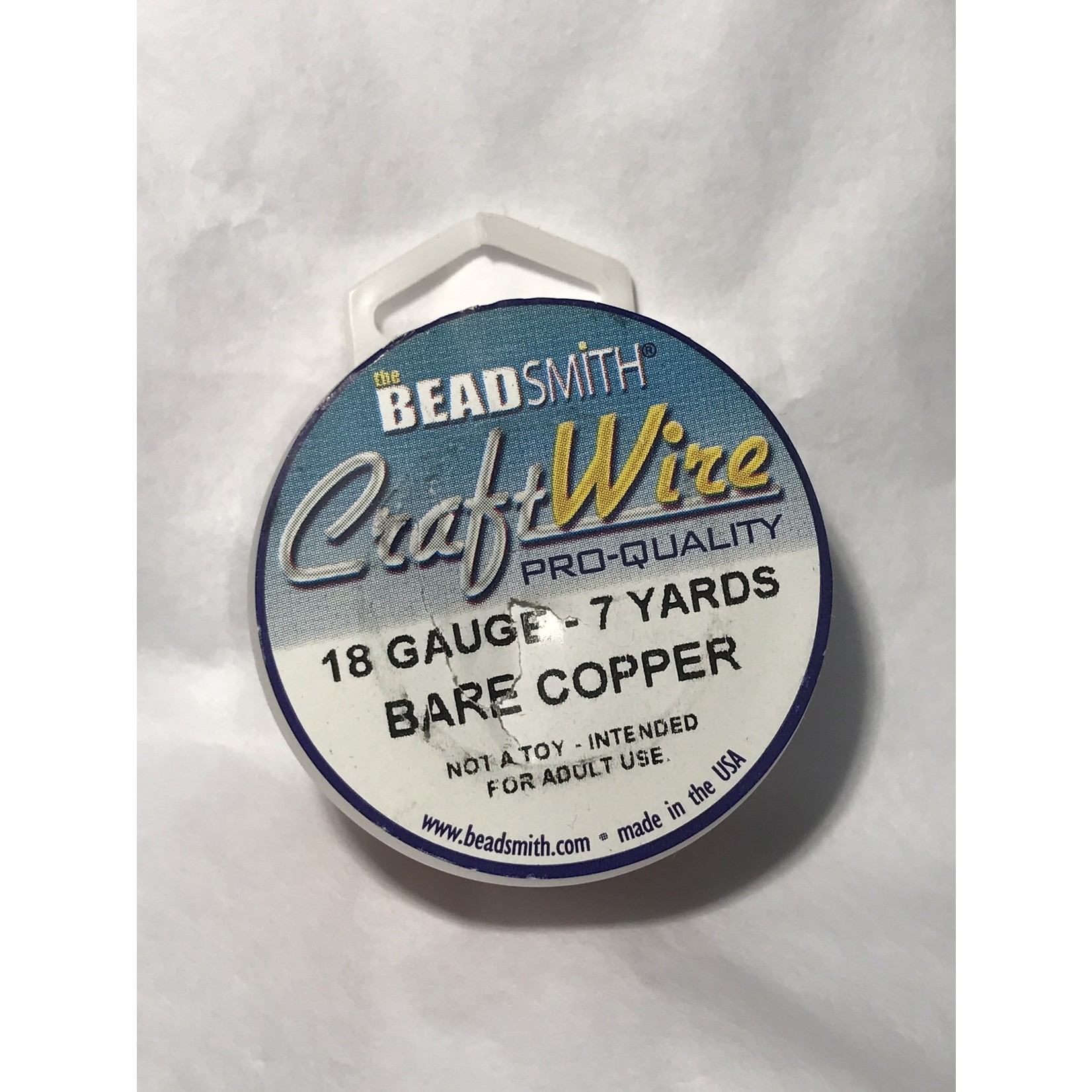 BeadSmith Bare Copper Wire - 18 Gauge Round 7 Yards