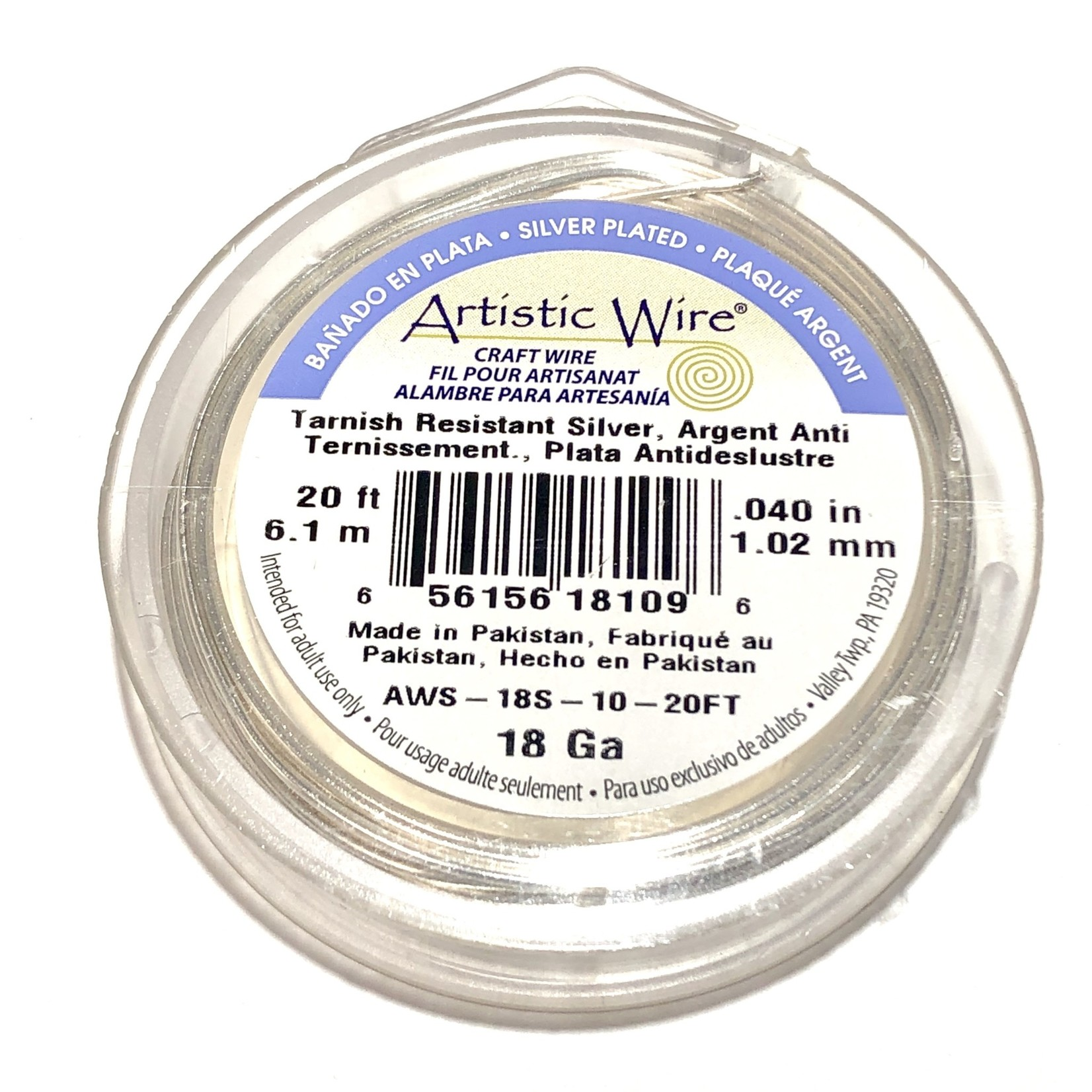 Artistic Wire Tarnish Resistant Silver 18Ga 20ft