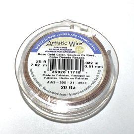 Artistic Wire Rose Gold Colour 20Ga 10Yd