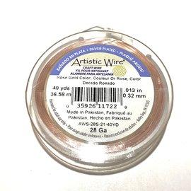 Artistic Wire Rose Gold Colour 28Ga 40Yd