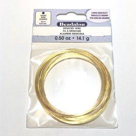 BEADALON Memory Wire Lg Bracelet .5oz Gold