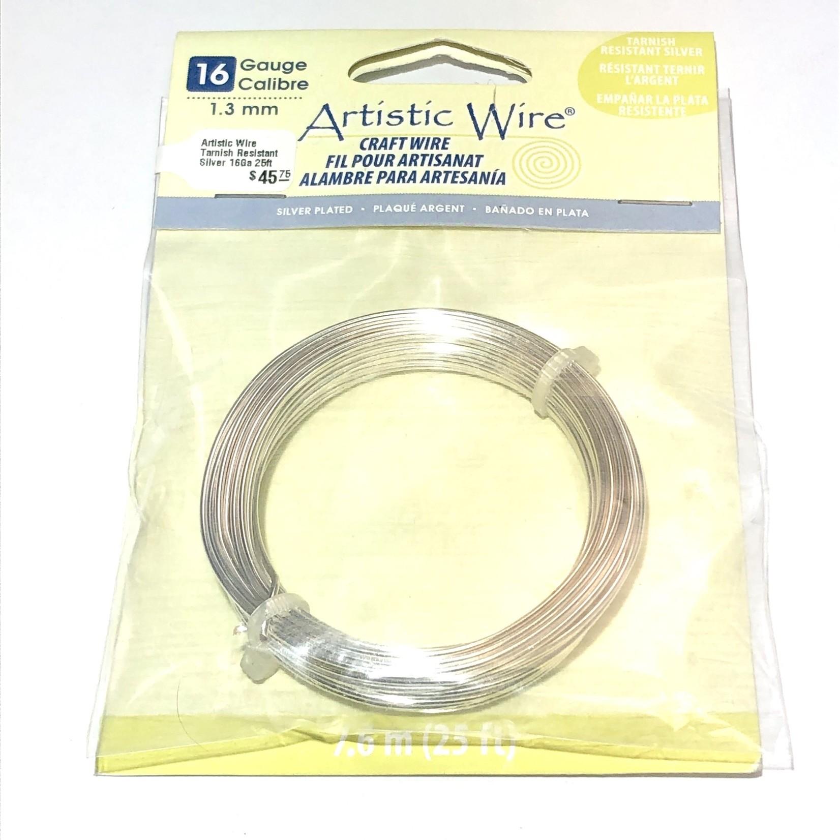 Artistic Wire Tarnish Resistant Silver 16Ga 25ft