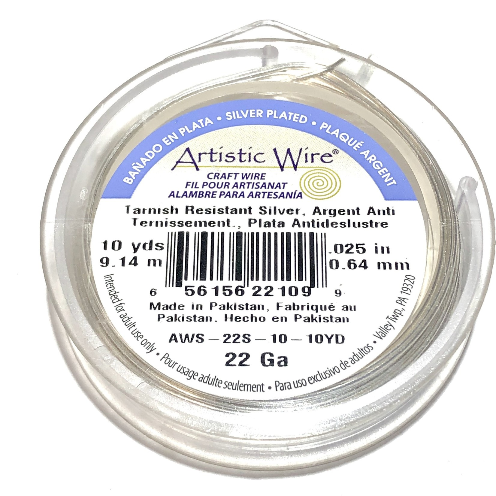 Artistic Wire Tarnish Resistant Silver 22Ga 10Yd