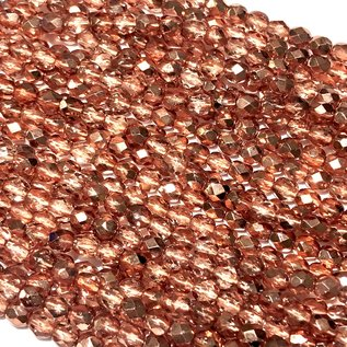 MATUBO Firepolish Met Crystal Copper 4mm