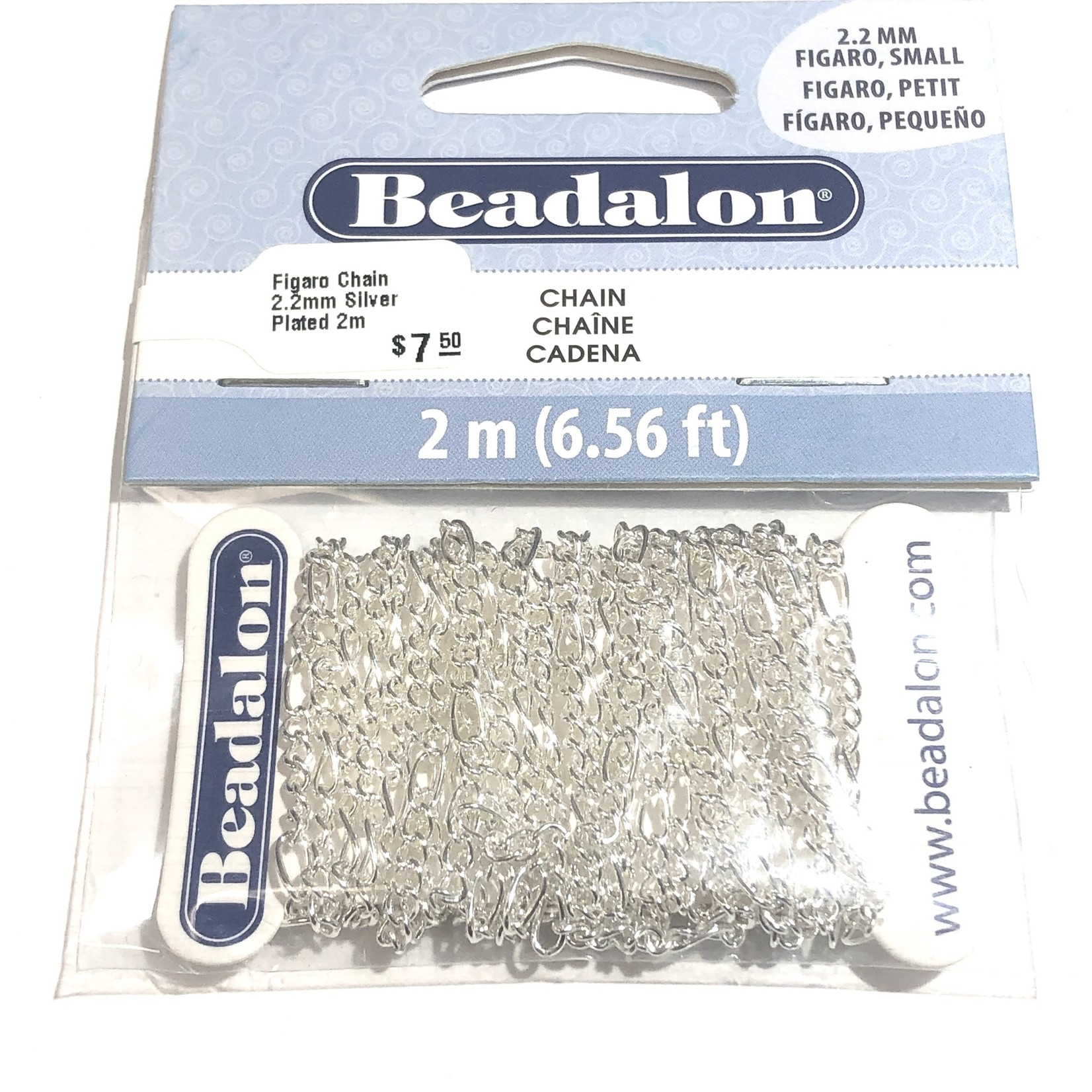 Beadalon Figaro Chain 2.2mm Silver Plated 2m
