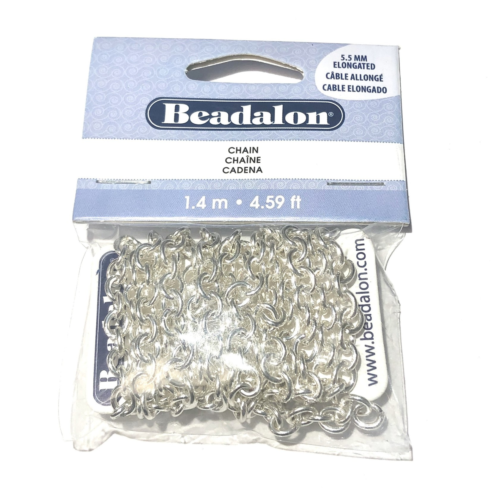 Beadalon Elongated Chain 5.5mm Silver Plated 1.4m