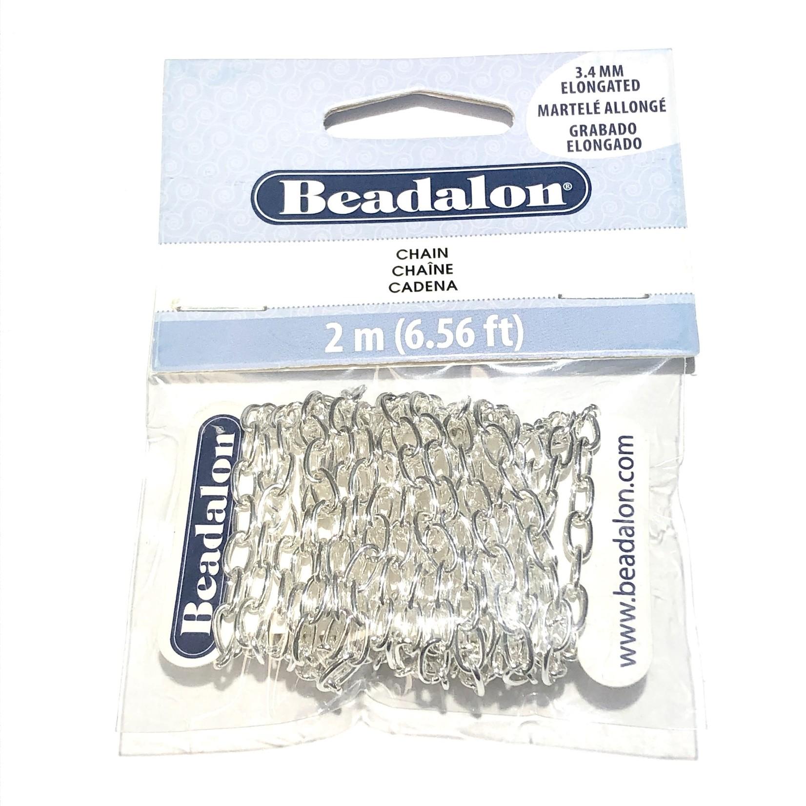 Beadalon Elongated Chain 3.4mm Silver Plated 2m