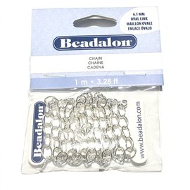 Oval Link Chain 6.1mm Silver Plated 1m