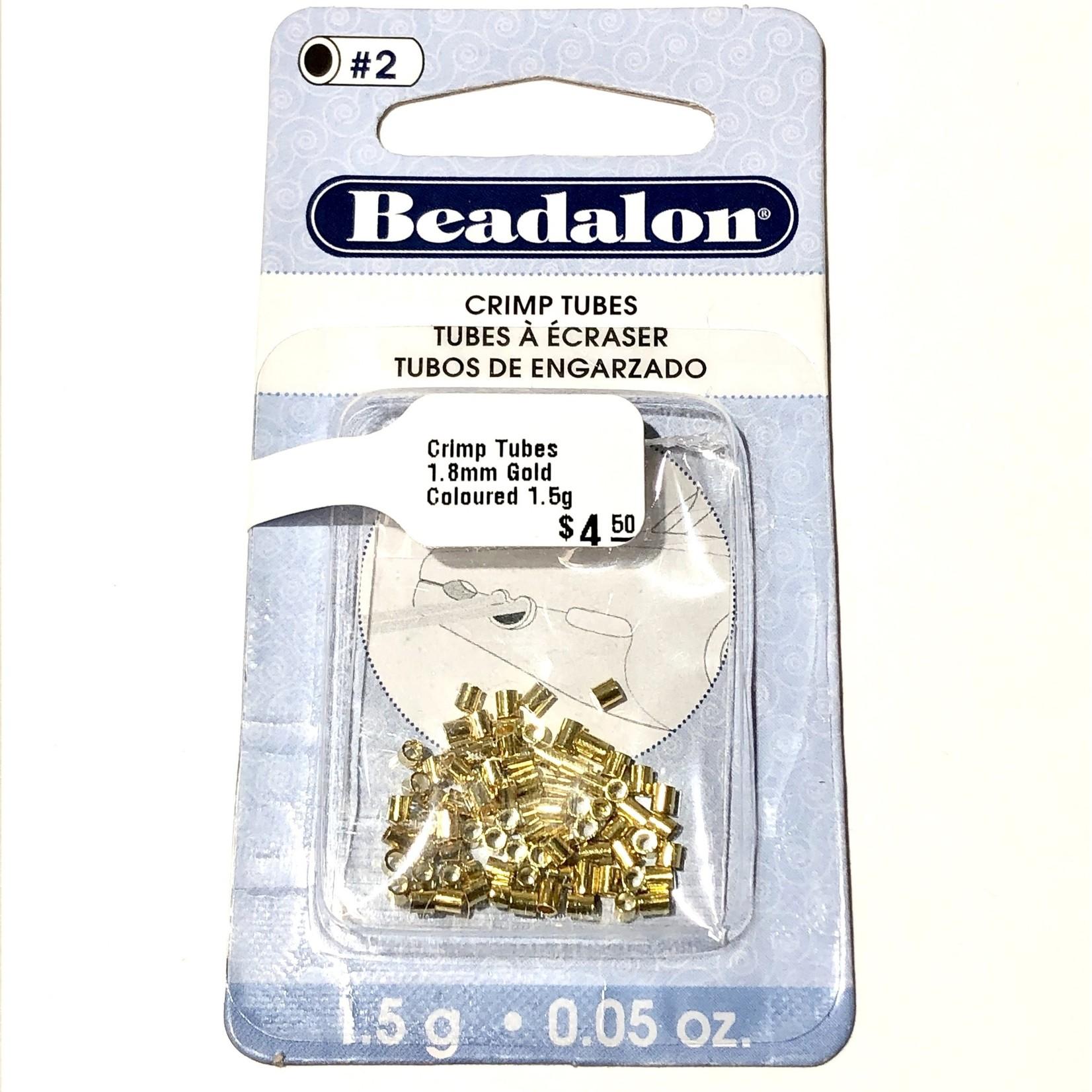Beadalon Crimp Tubes 1.8mm Gold Coloured 1.5g