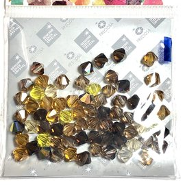 Preciosa Crystal 6mm Bicone MIX Wheatberry 72pcs