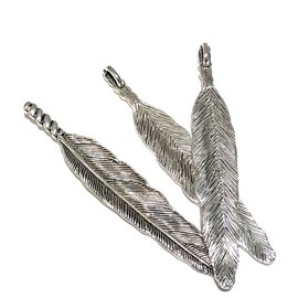 Tibetan Silver Alloy Feather Pendant 80mm 3pcs