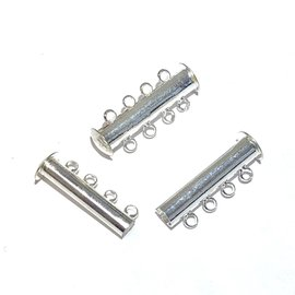 Magnetic Slide CLASP Plated Brass 4 Strand 4/pkg