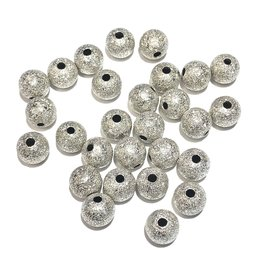 Silver Plated Sparkle Textured 8mm Bead 50pcs