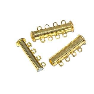 Mag Slide CLASP Plated Brass (Gold) 4 Strand 4/pkg