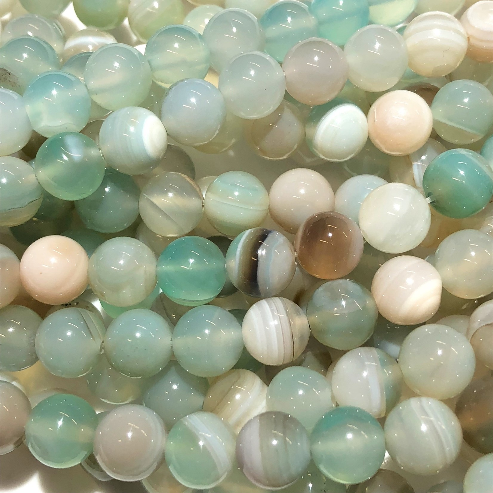 Banded AGATE Dyed Light Aqua 8mm Round