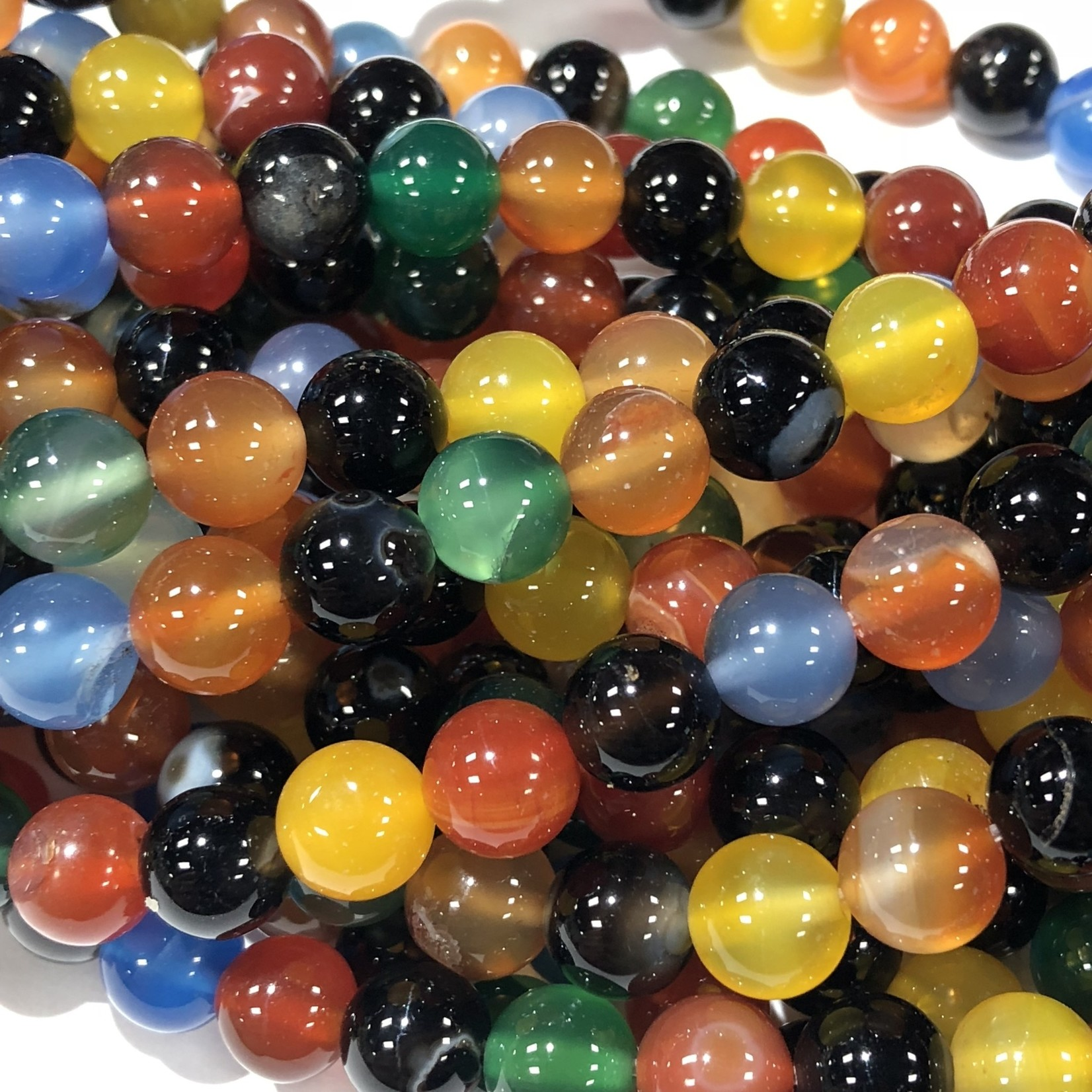 AGATE Mixed Colours 8mm Round