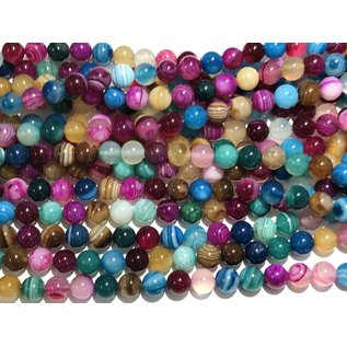 Agate Multi-Coloured Banded 8mm Round