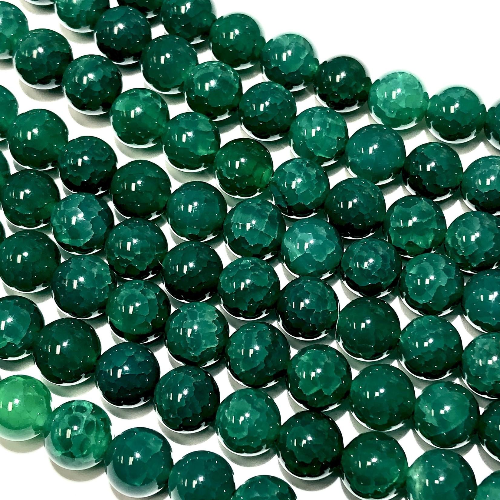 AGATE Cracked Dark Green 8mm Natural Round