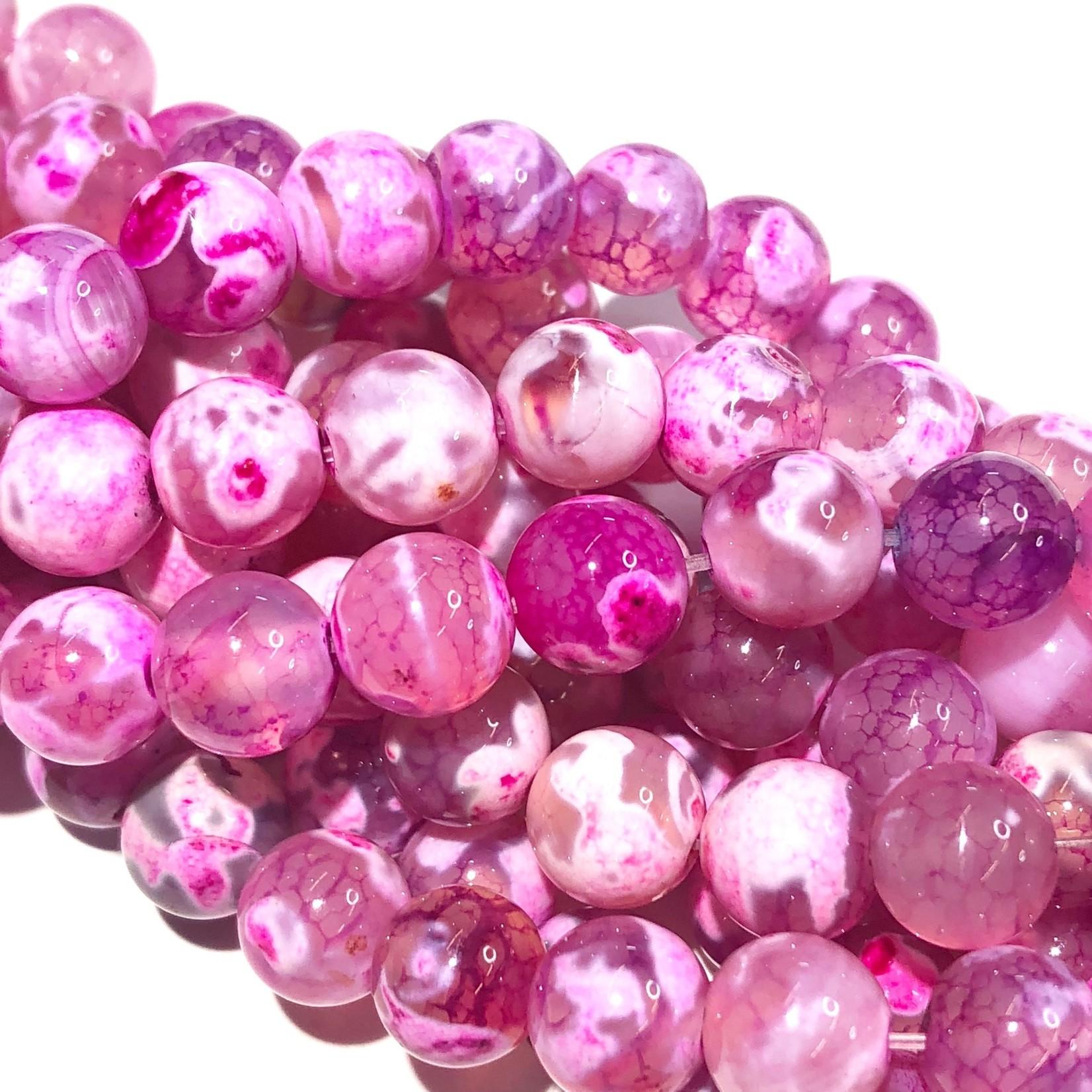 Cracked AGATE Dyed Bubblegum Pink 8mm Round