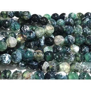 AGATE Fire Green/Black 8mm Faceted